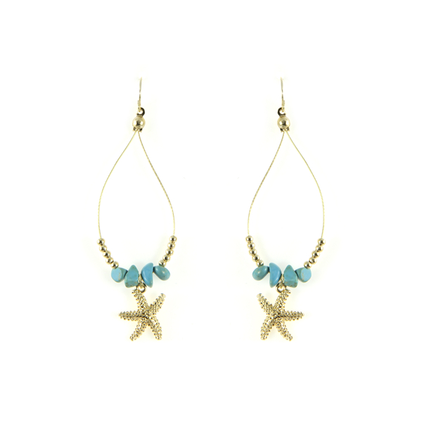 Starfish Natural Stone Teardrop Earrings