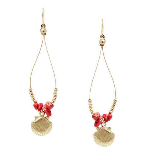Natural Stone And Metal Bead Wire Earrings With Shell Charm