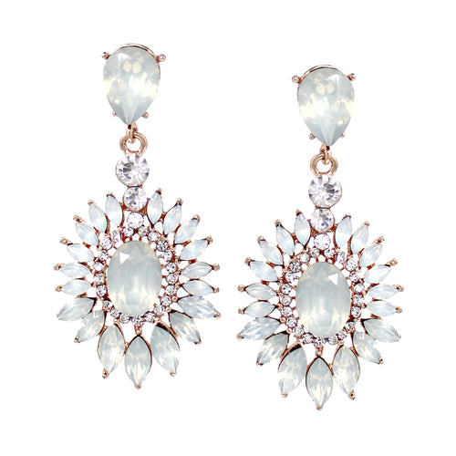 Rhinestone Pave Floral Shape Stone Cluster Drop Earrings