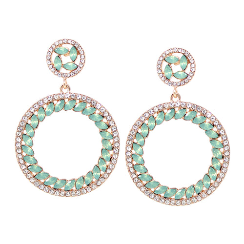 Rhinestone With Marquise Stone Paved Hoop Drop Earrings