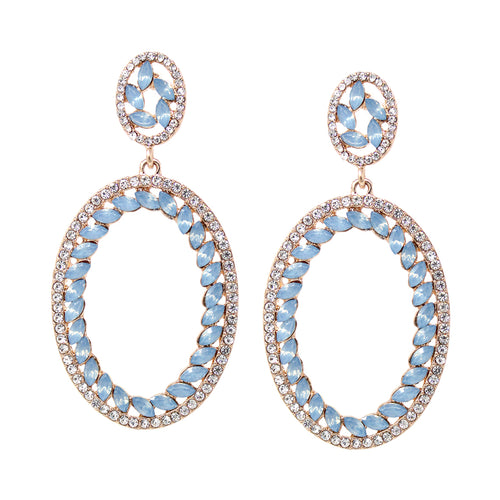 Rhinestone With Marquise Stone Pave Oval Hoop Drop Earrings
