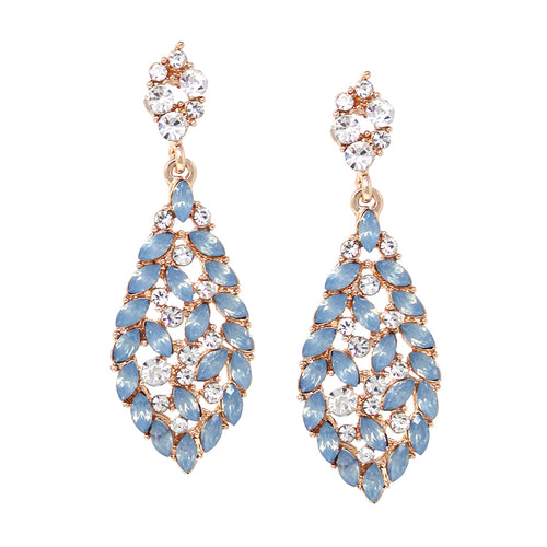Leaf Shape Rhinestone With Marquise Stone Cluster Drop Earrings