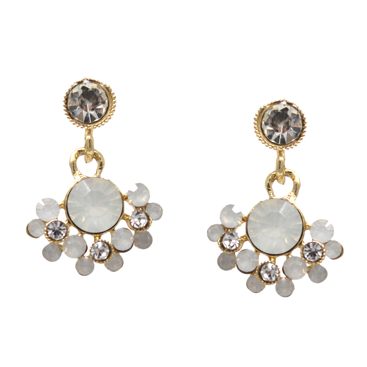 Faceted Stone Pave Flower Drop Earrings