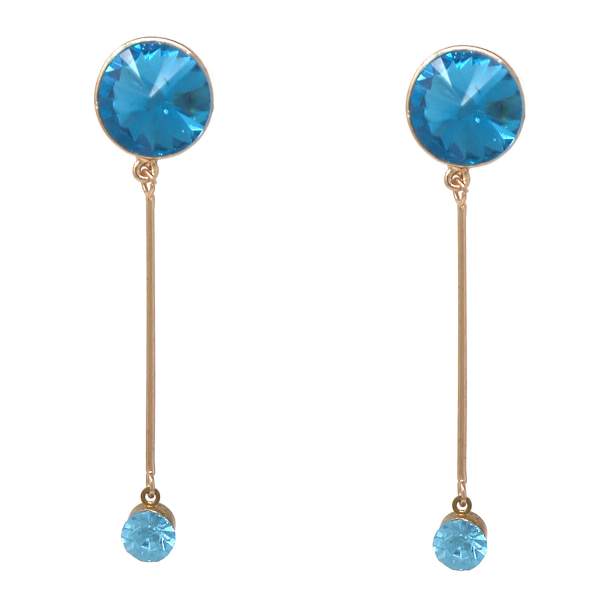 Pointed Glass Stone Bar Drop Earrings
