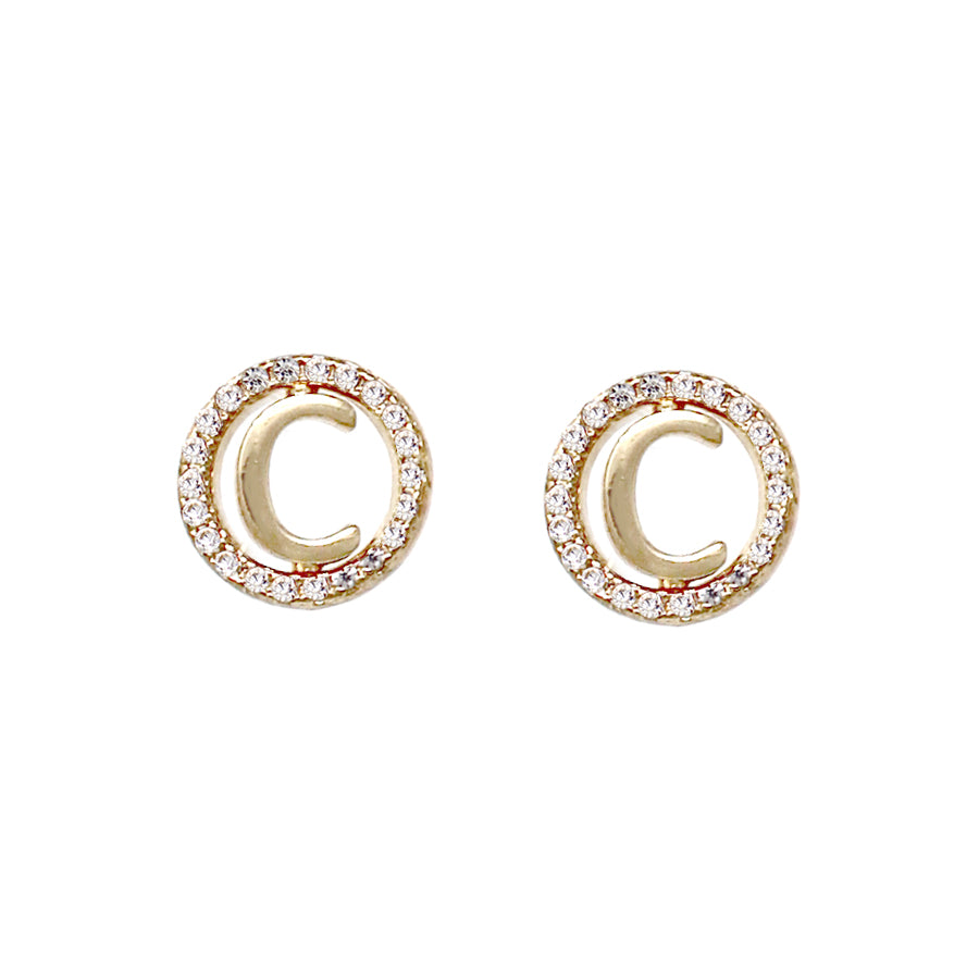 C Initial Cubic Zirconia Pave Stud Earrings