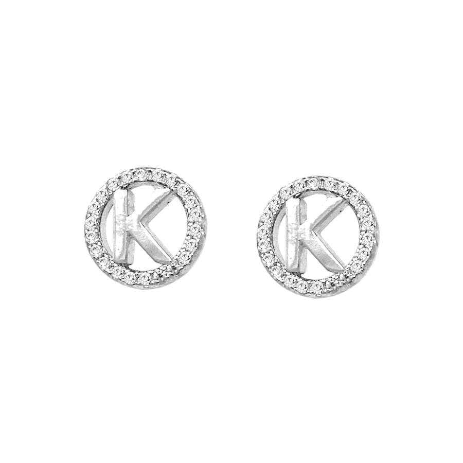 K Initial Cubic Zirconia Pave Stud Earrings