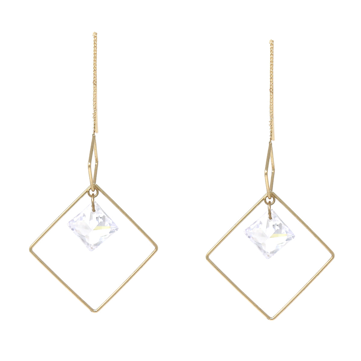 Square Shape Cubic Zirconia Hoop Drop Threader Earrings