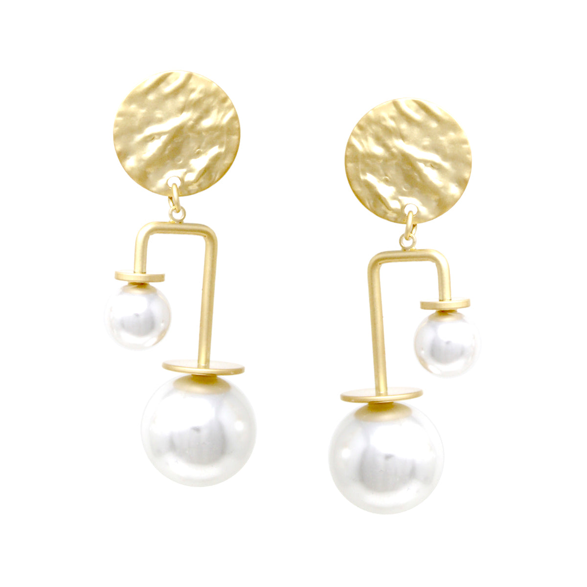 Hammered Metal Disc Pearl Bead Swing Drop Earrings