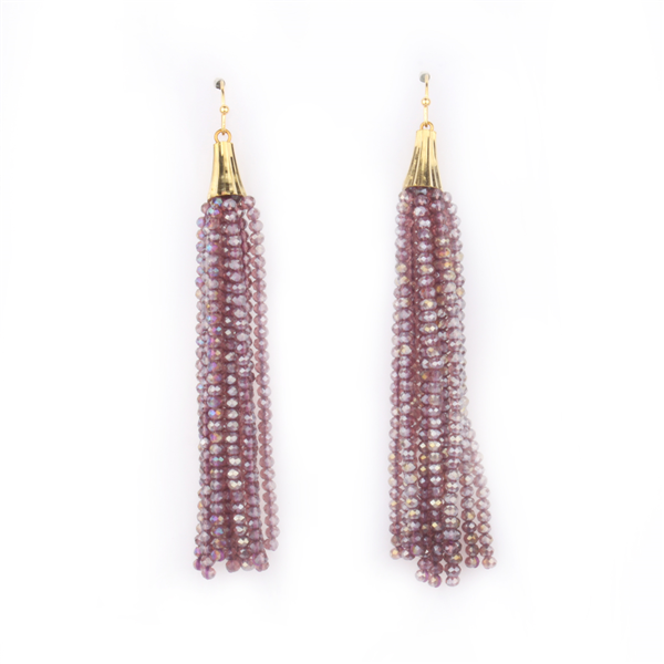 Glass Beads Tassel Earrings