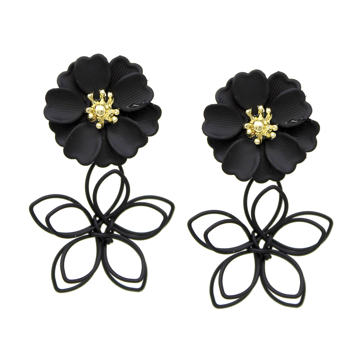 Color Coated Metal Wire Flower Drop Earrings