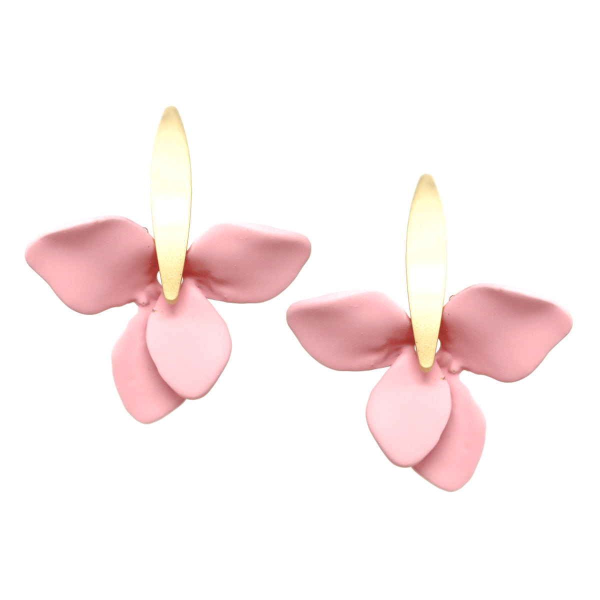 Color Petal Curved Bar Drop Earrings