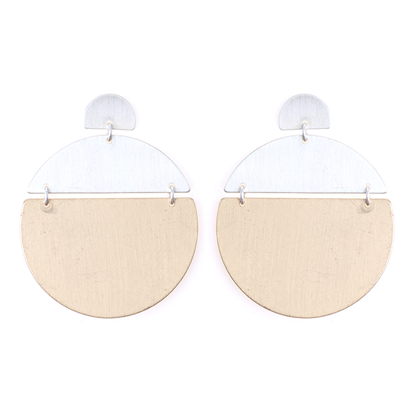 Geometric Metal Drop Earrings