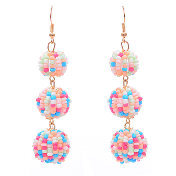 Seed Beads Ball Linear Drop Earrings