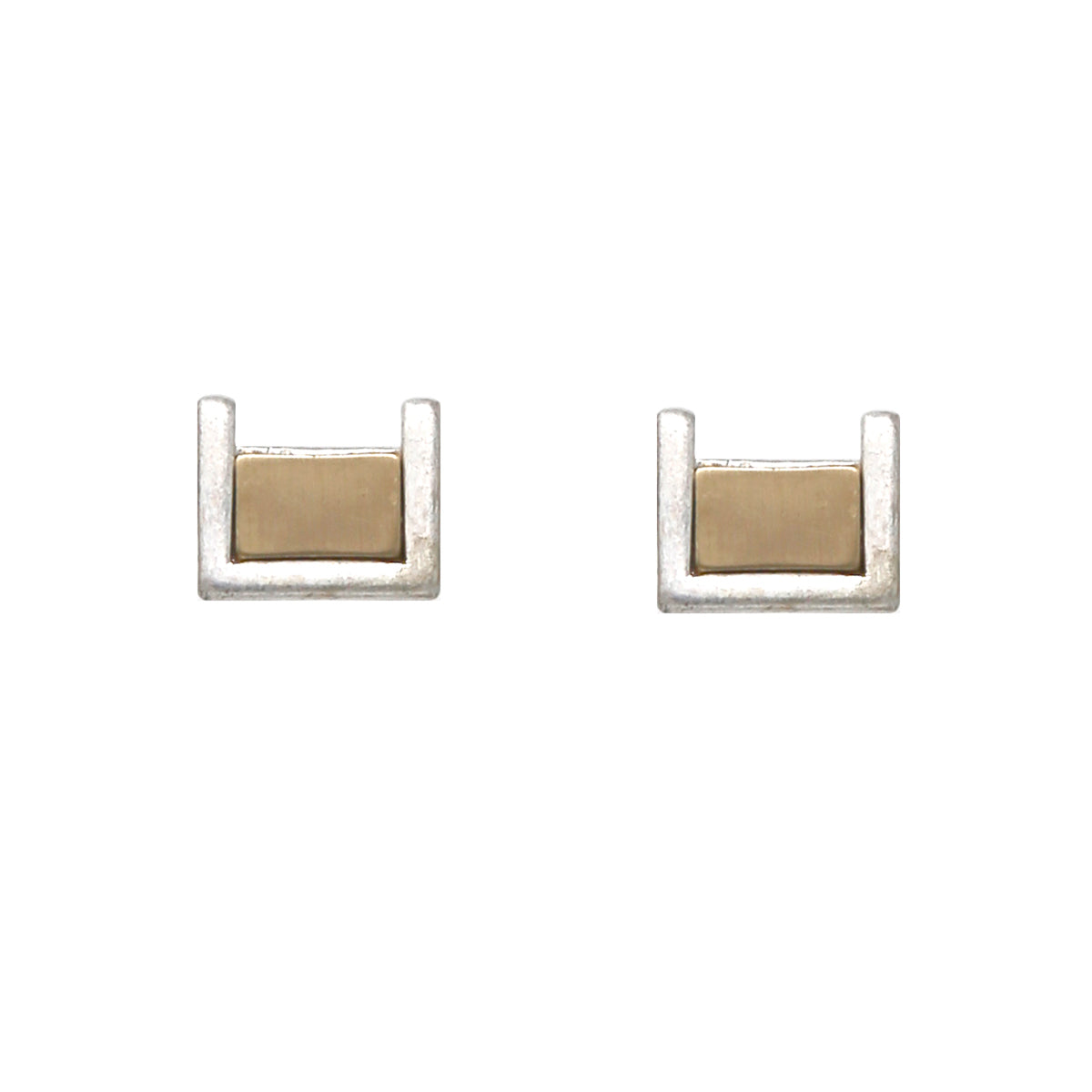 Two Tone Finished Metal Rectangle Stud Earrings