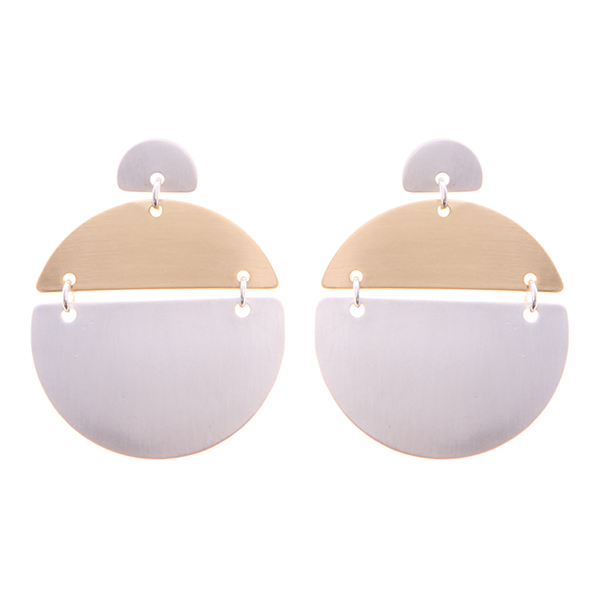 Geometric Urban Brass Earrings