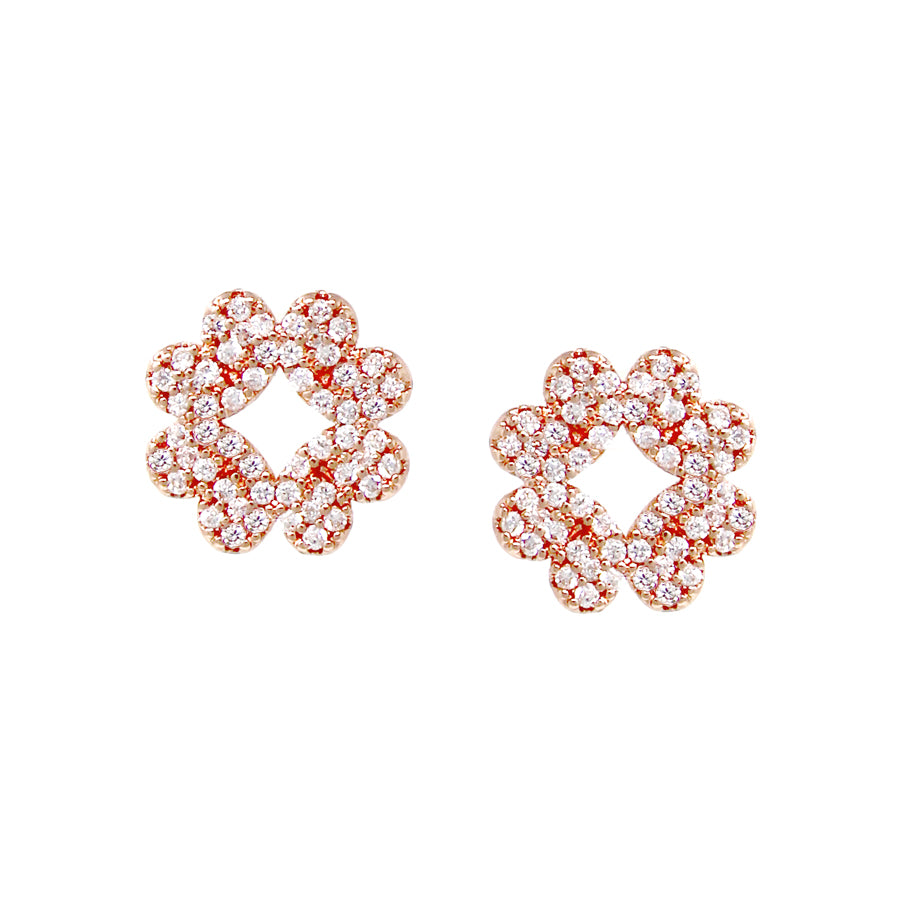 Cubic Zirconia Pave Clover Shape Stud Earrings
