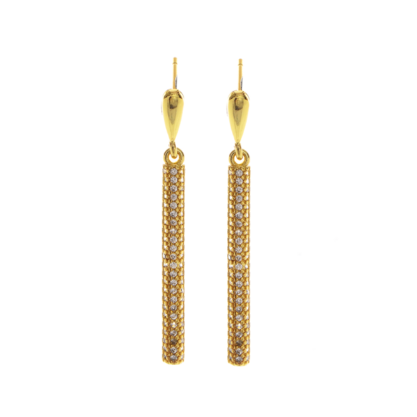 Crystal Stone Bar Hoop Earrings