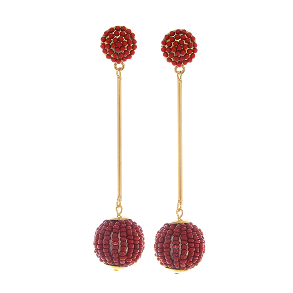 Seed Beads Round Drop Post Earrings