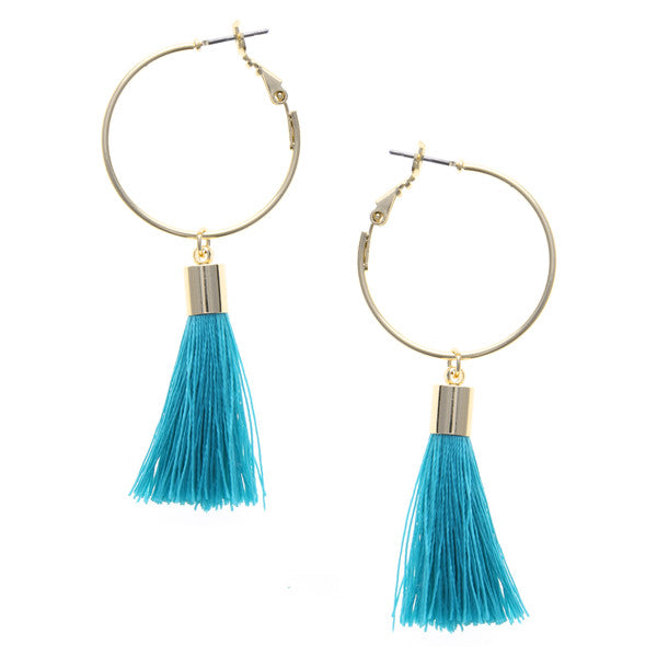 Lightweight Tassel Charm Hoop Earrings
