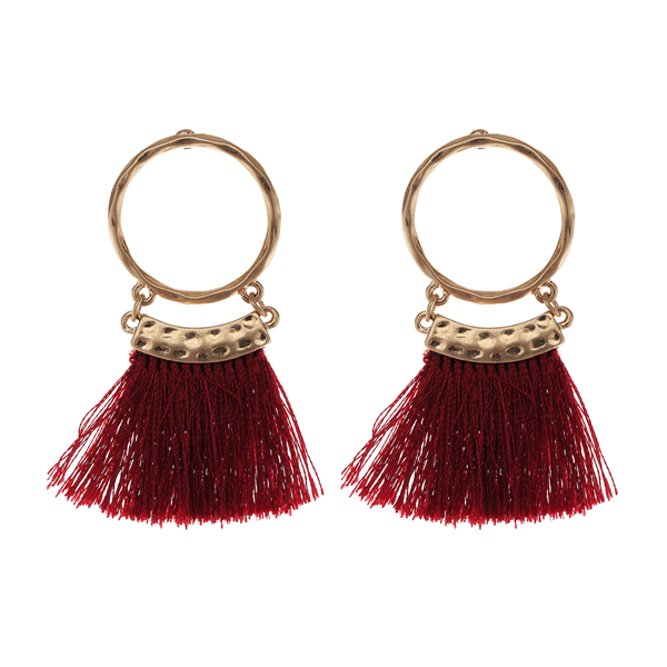 Geometric Thread Tassel Earrings