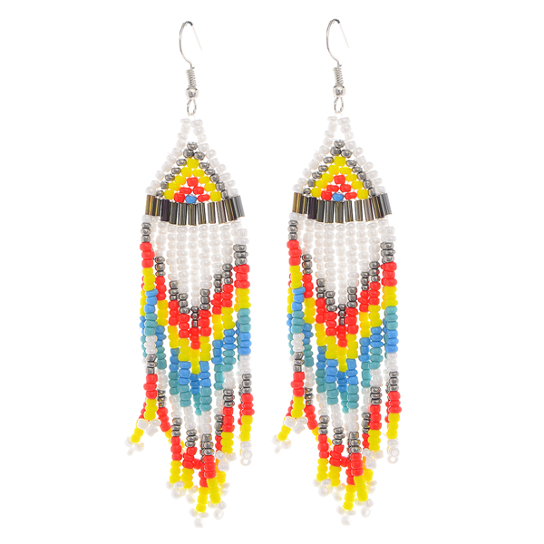 Oversized Beaded Fringe Tassel Earrings