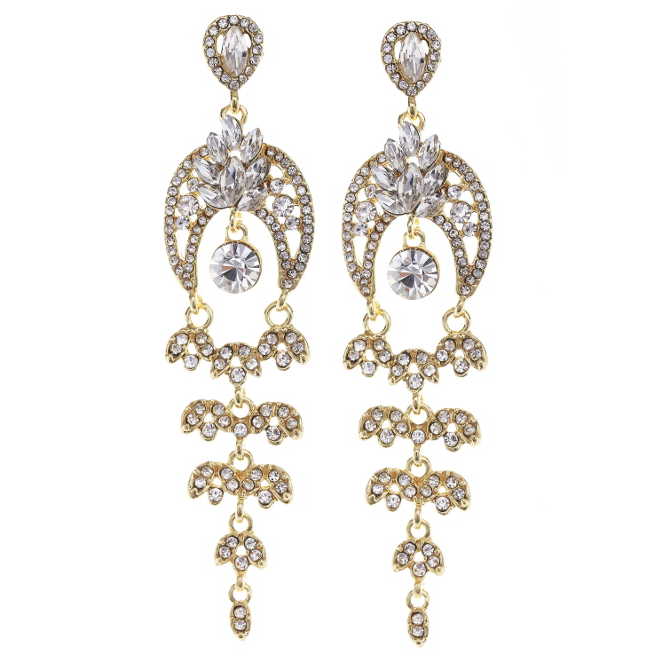 Glass Stone Paved Chandelier Drop Earrings