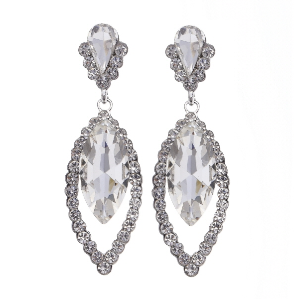 Glass Stone Marquise Shape Statement Earrings