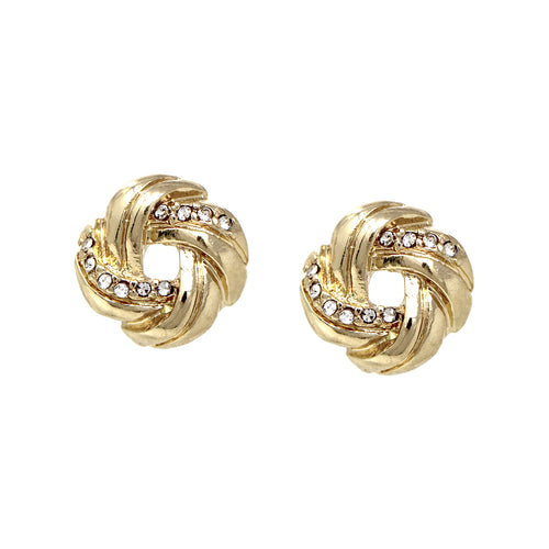 Rhinestone Pave Knot Stud Earrings