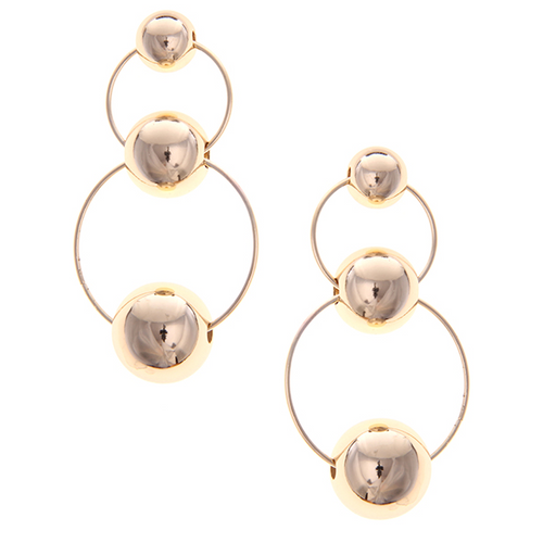 Urban Geometric Triple Ball Metal Hoop Earrings