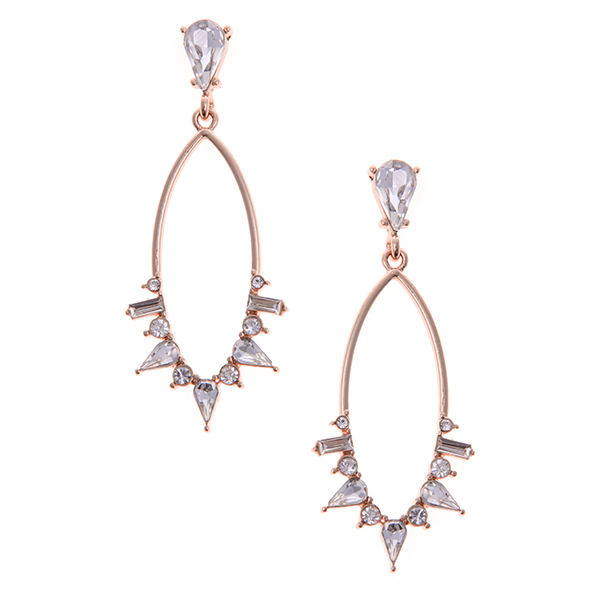 Glass Stone Embellished Marquise Hoop Statement Earrings