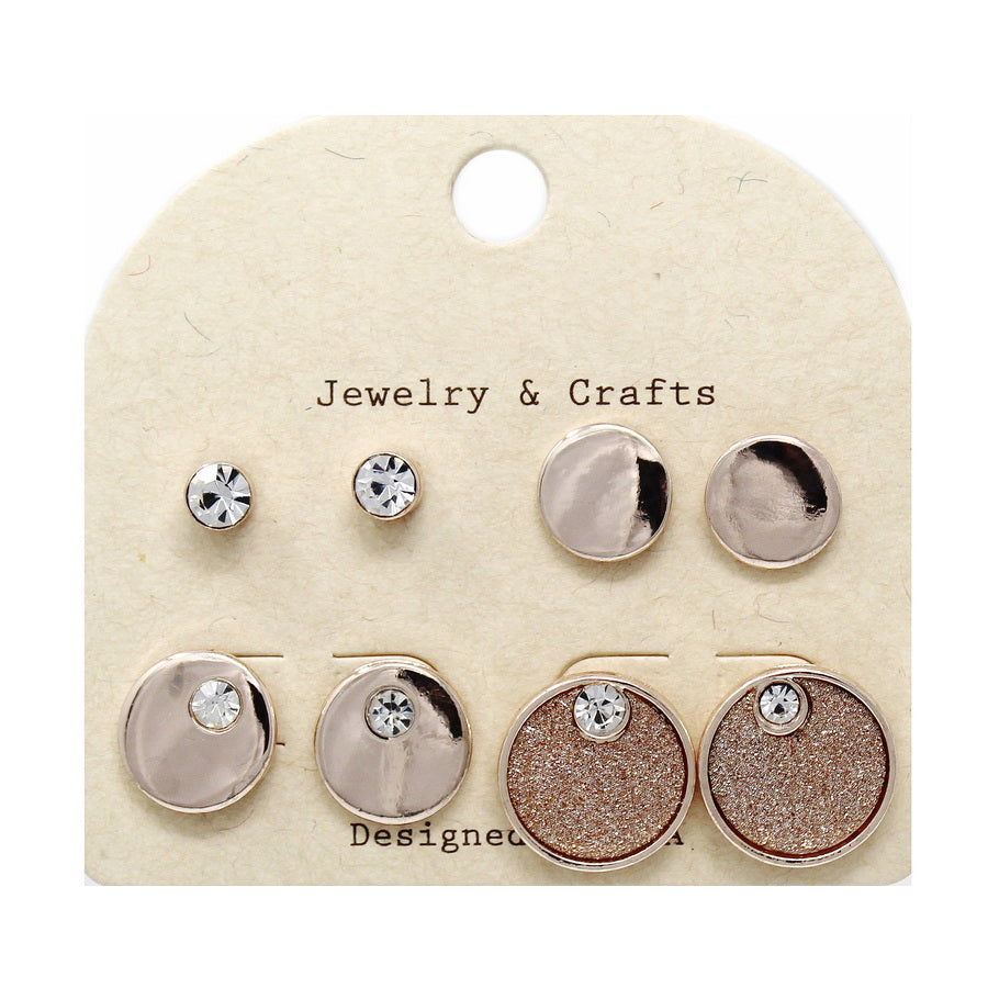 Round Shape Assorted Stud Earring Set