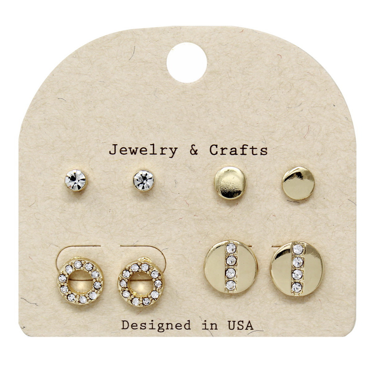 Rhinestone Pave Assorted Stud Earring Set