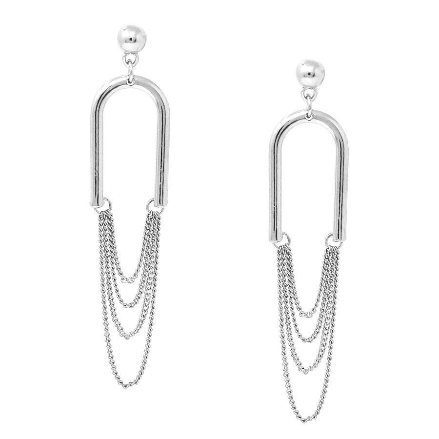 Metal Arch With Chain Drape Earrings