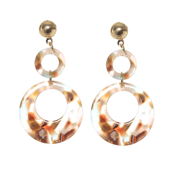 Double Hoop Tortoise Drop Earrings