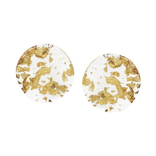 Curved Disc Shape Clear Acetate With Flake Stud Earrings