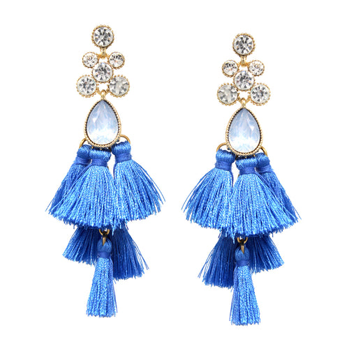 Faceted Stone Pave Tassel Tiered Drop Earrings
