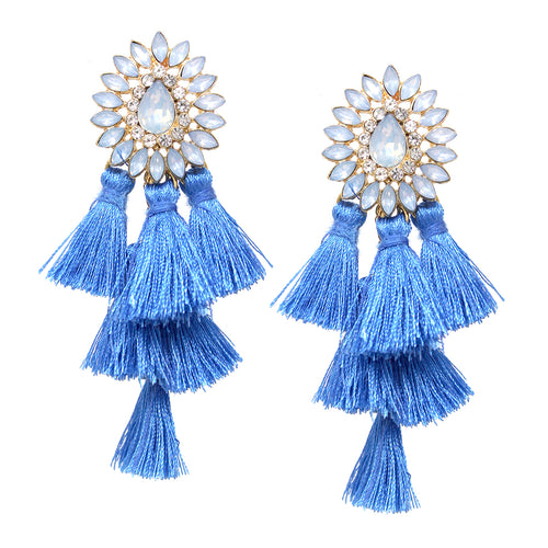 Marquise Stone Pave Floral Tassel Tiered Drop Earrings