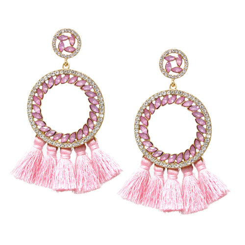 Marquise Stone Pave Disc Tassel Fringe Drop Earrings