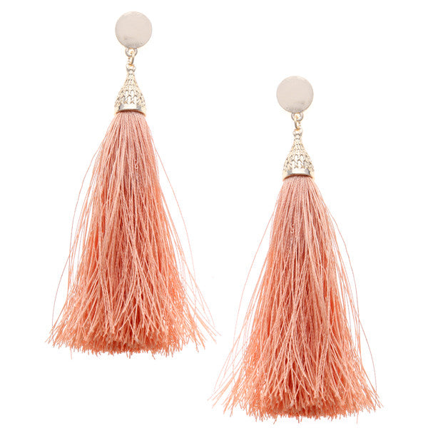 Lightweight Metal Mini Disk Tassel Earrings