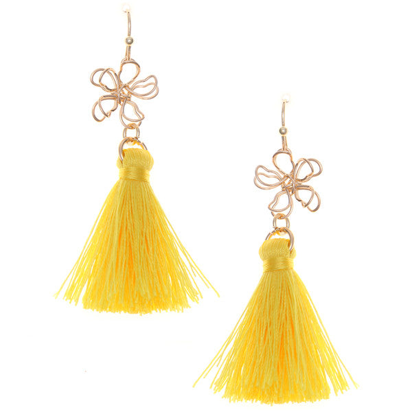Lightweight Wired Flower Tassel Earrings