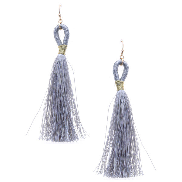 Thread Wrapped Loop Tassel Drop Earrings