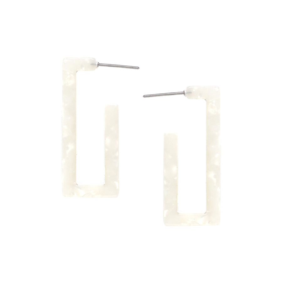 Geometric Rectangle Hoop Earrings