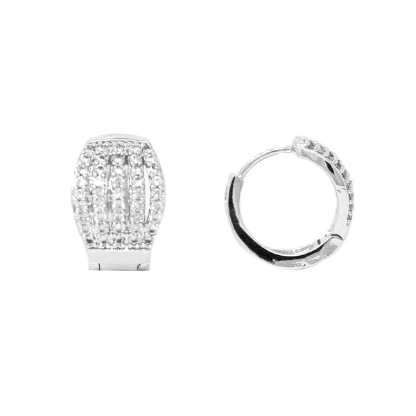 Cubic Zirconia 5 Row Wide Huggie Hoop Earrings (15 mm)