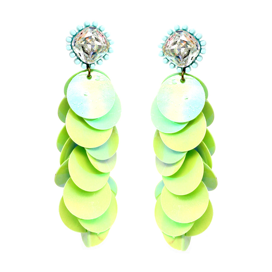 Glass Stone With Disc Sequins Layered Drop Earrings
