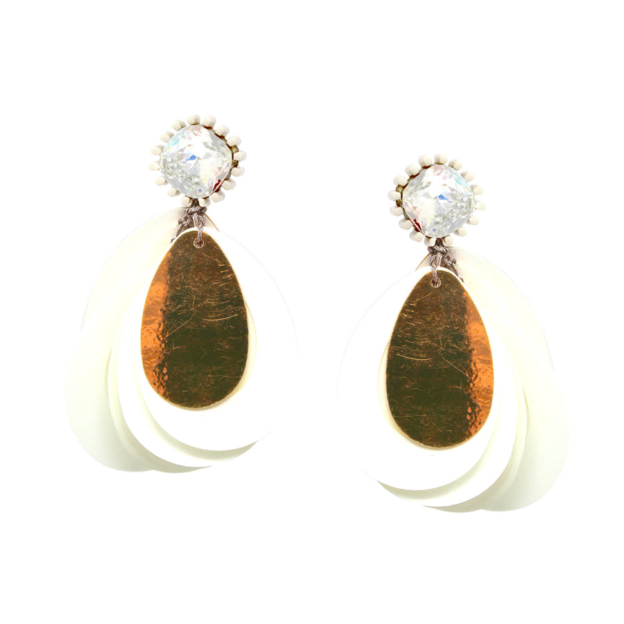 Glass Stone With Teardrop Shape Sequin Layered Drop Earrings
