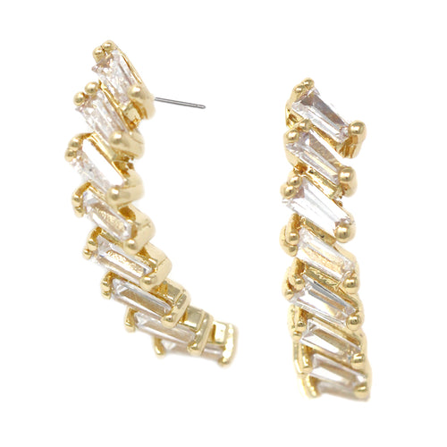 Cubic Zirconia Stacked Stone Earrings