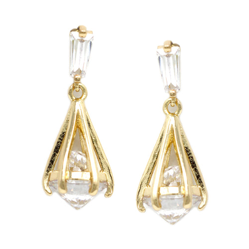 Cubic Zirconia  Caged Stone Earrings