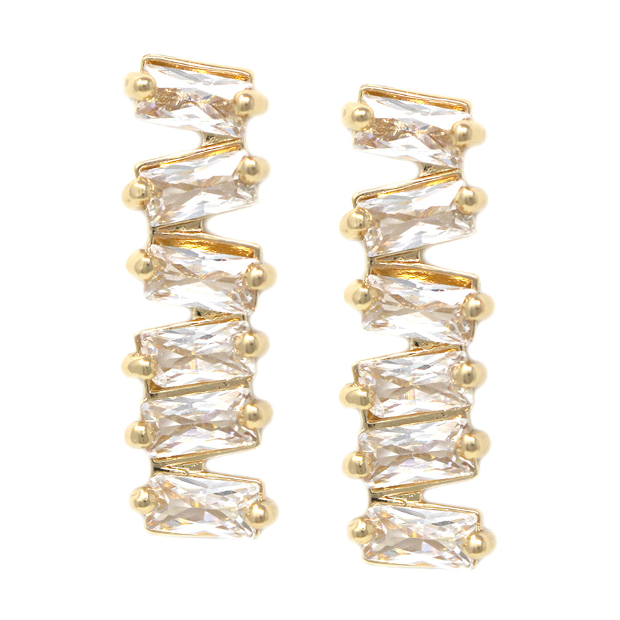 Cubic Zirconia Zigzag Earrings