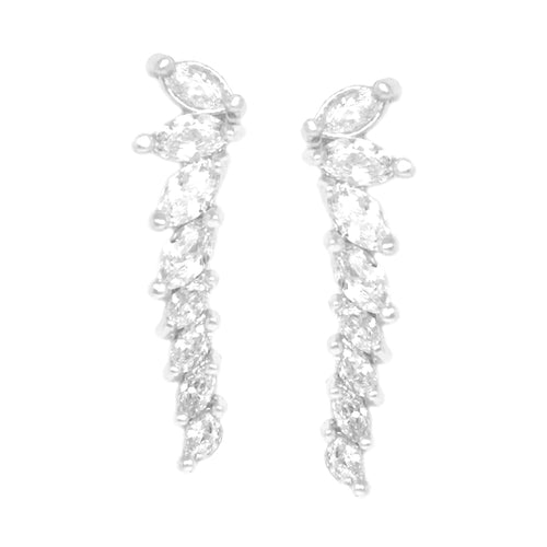 Cubic Zirconia Stacked Marquise Stone Earrings