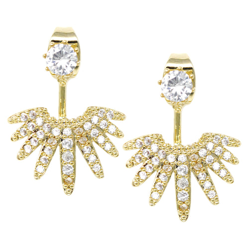 Cubic Zirconia Pave Jacket Earrings